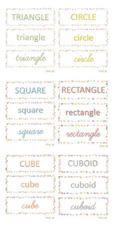 Etiquettes formes géo anglais