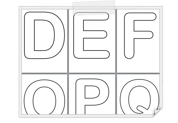 Alphabet lettres majuscules creuses